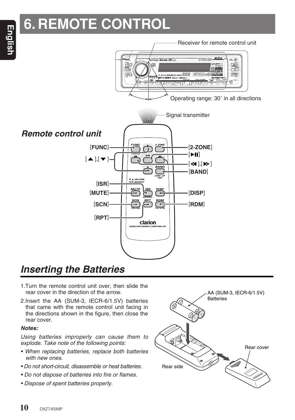 remote control inserting the batteries english clarion dxz745mp rh manualsdir com O-Ring Installation Guide Honeywell Thermostat Installation Manual