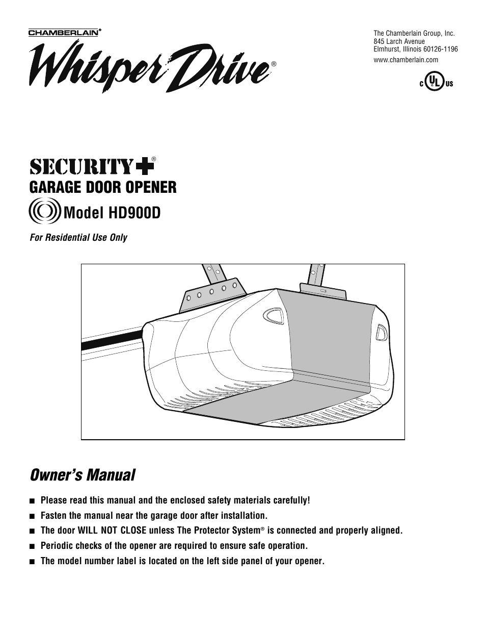 Chamberlain Whisper Drive Hd900d User Manual 88 Pages Garage Door Opener Schematic