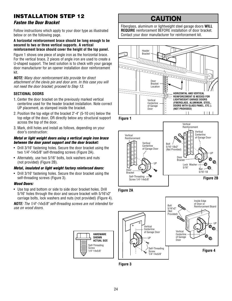 Fasten the door bracket, Installation step 12 | Chamberlain WHISPER DRIVE  HD900D User Manual | Page 24 / 88