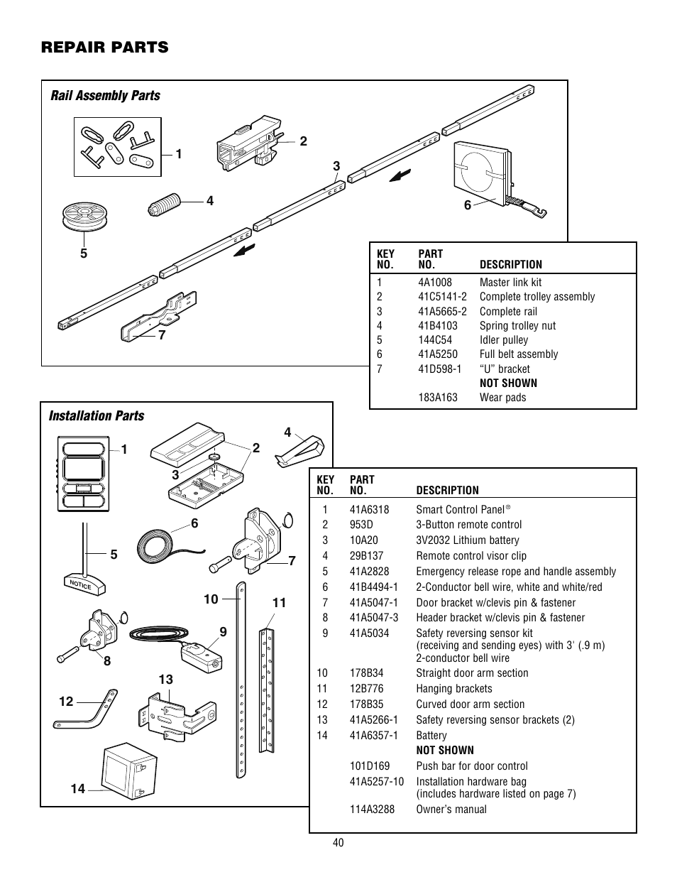 Repair Parts  Rail Assembly Parts  Installation Parts