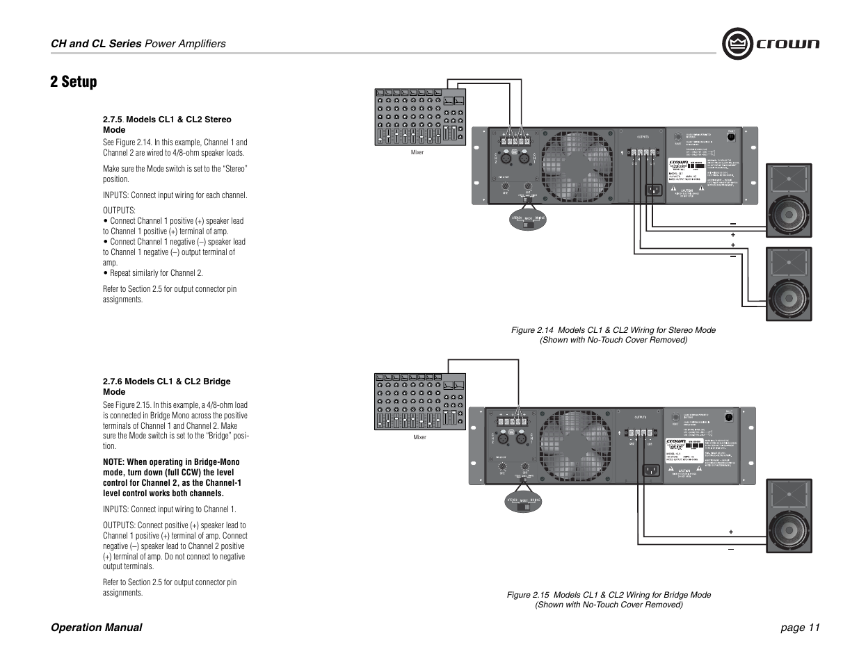 2 setup | Crown Audio CL Series User Manual | Page 11 / 44 on
