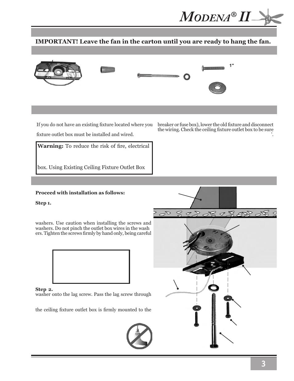 Odena Installation Instructions Ceiling Hardware Getting Started Wiring Fan Crossbar Mounting Bracket Casablanca