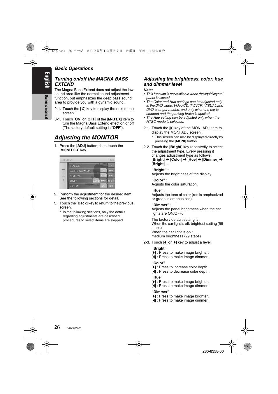 adjusting the monitor english clarion vrx765vd user manual page rh manualsdir com Clarion Replacement Faceplate Clarion Replacement Faceplate