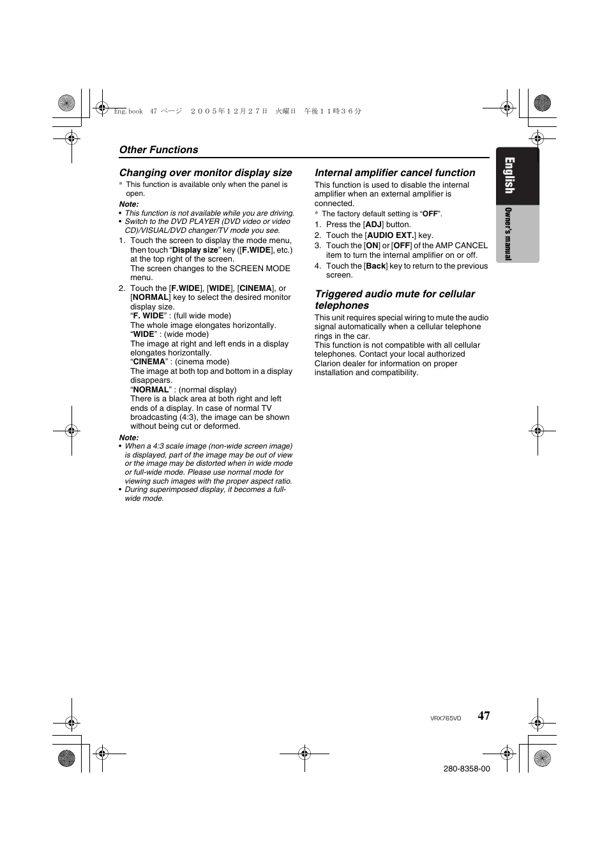 english clarion vrx765vd user manual page 45 75 rh manualsdir com  Clarion In-Dash DVD