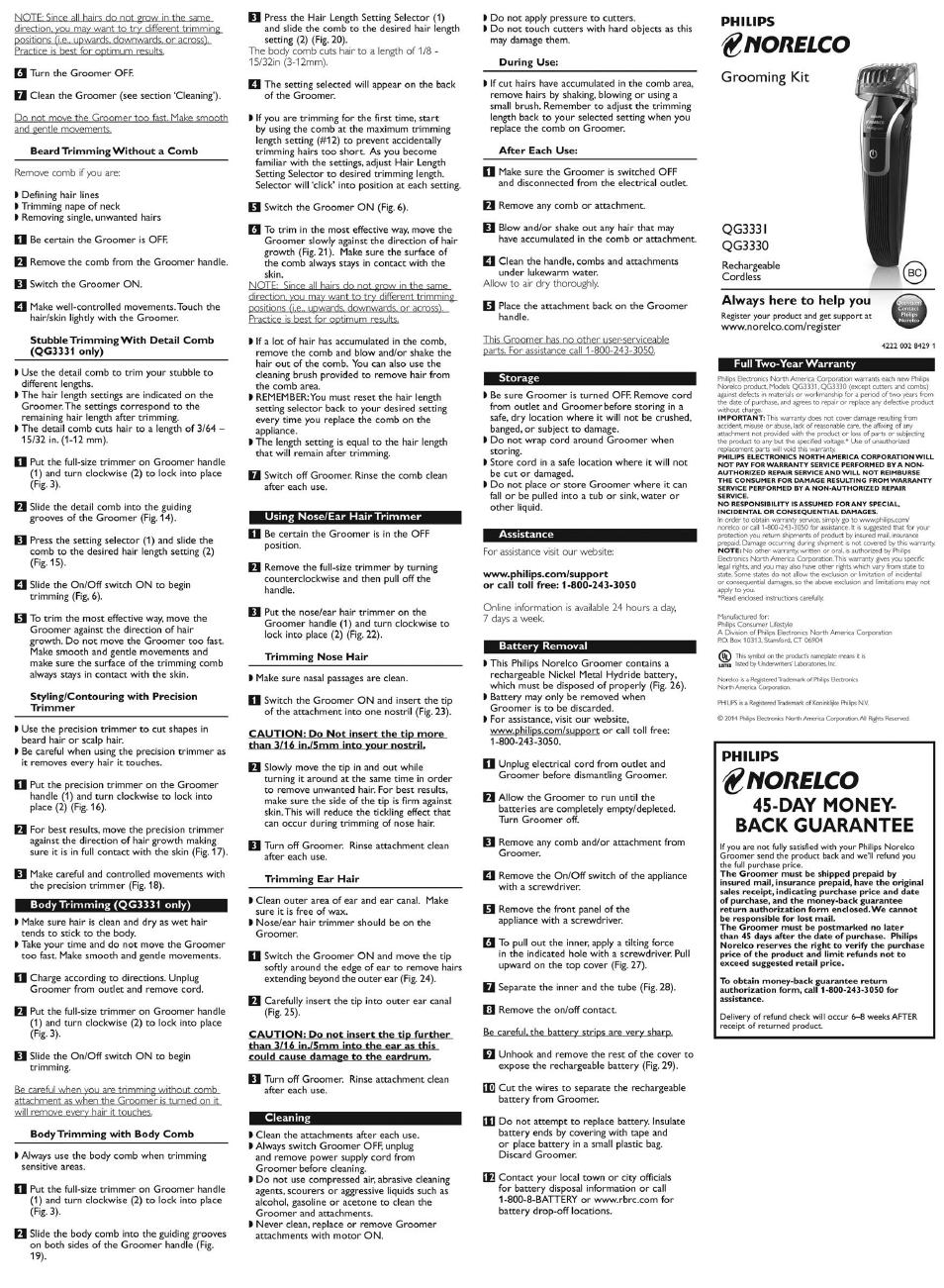 norelco grooming kit qg333i philips norelco multigroom 3300 rh manualsdir com Philips Flat TV Manual Philips Electronics Manuals