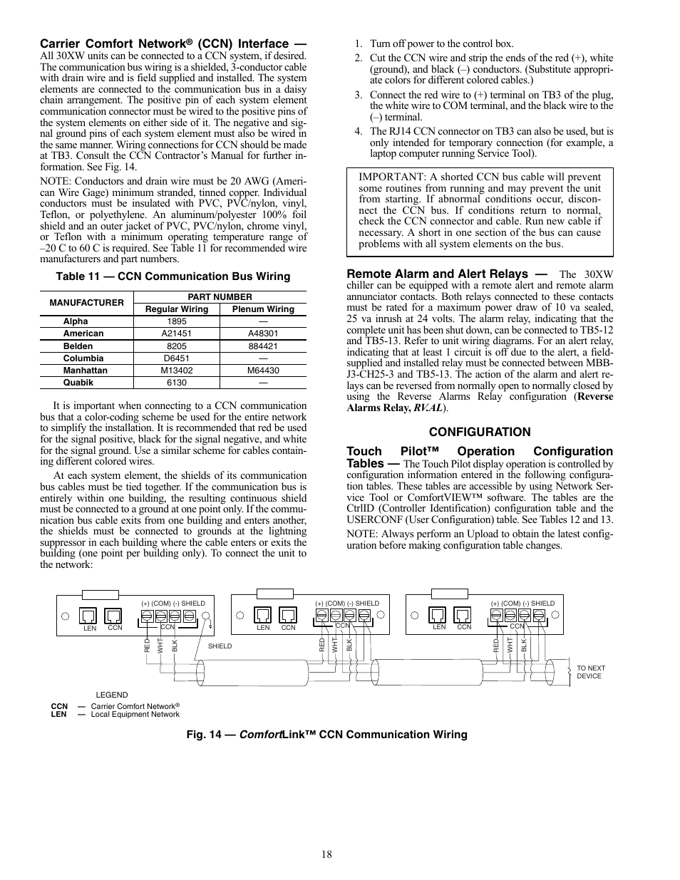 Carrier comfort network, Ccn) interface, Remote alarm and alert relays    Carrier AQUAFORCE 30XW150-400 User Manual   Page 18 / 148