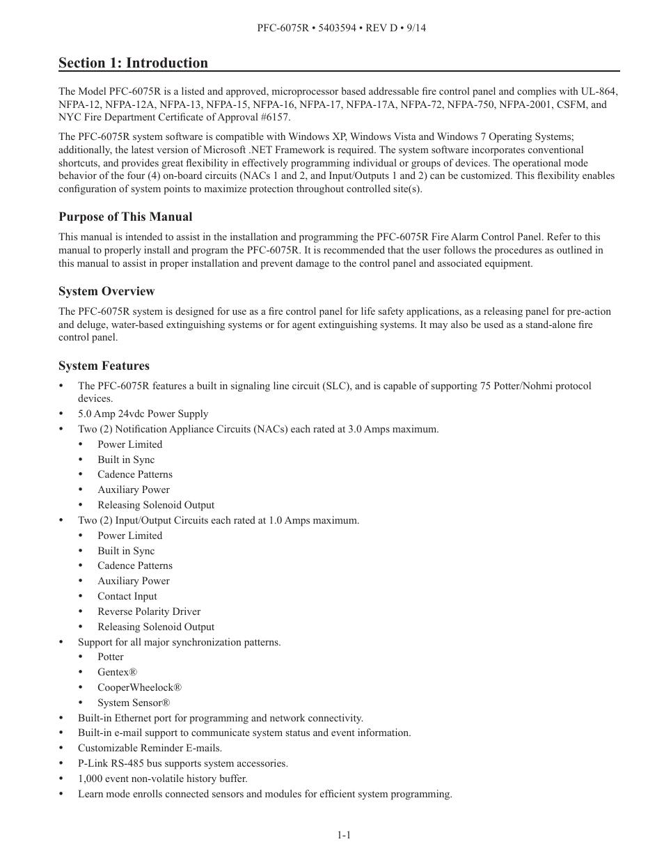 Potter PFC-6075R User Manual | Page 7 / 136