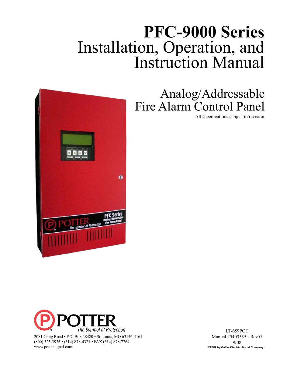 potter pfc 9000 series user manual 90 pages rh manualsdir com Owner's Manual Instruction Manual Book