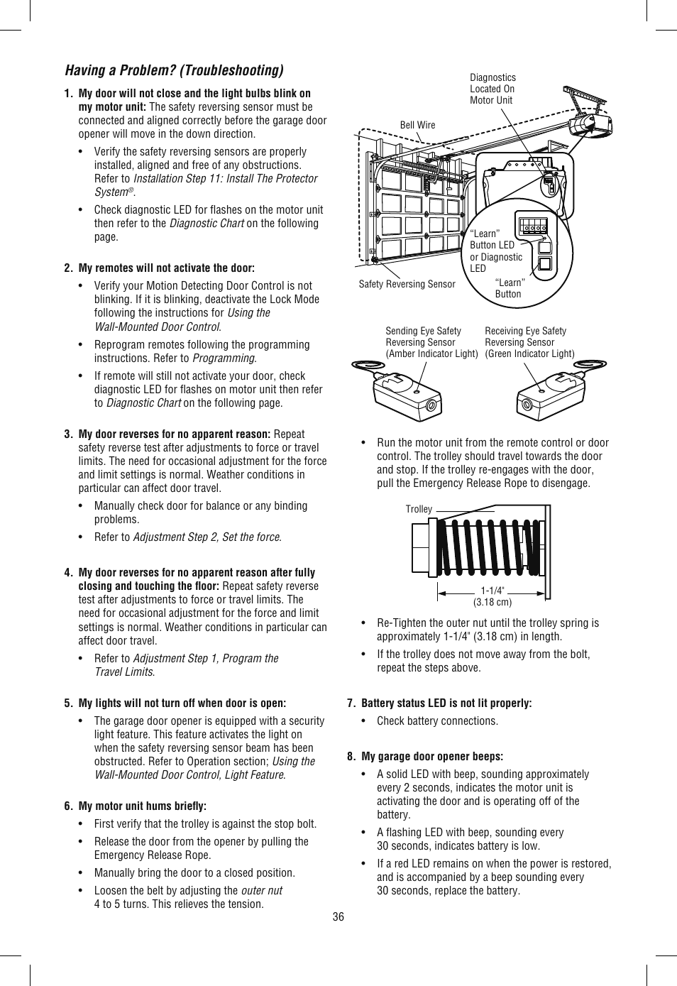 (troubleshooting) | chamberlain wd962kld user manual | page 36 / 44