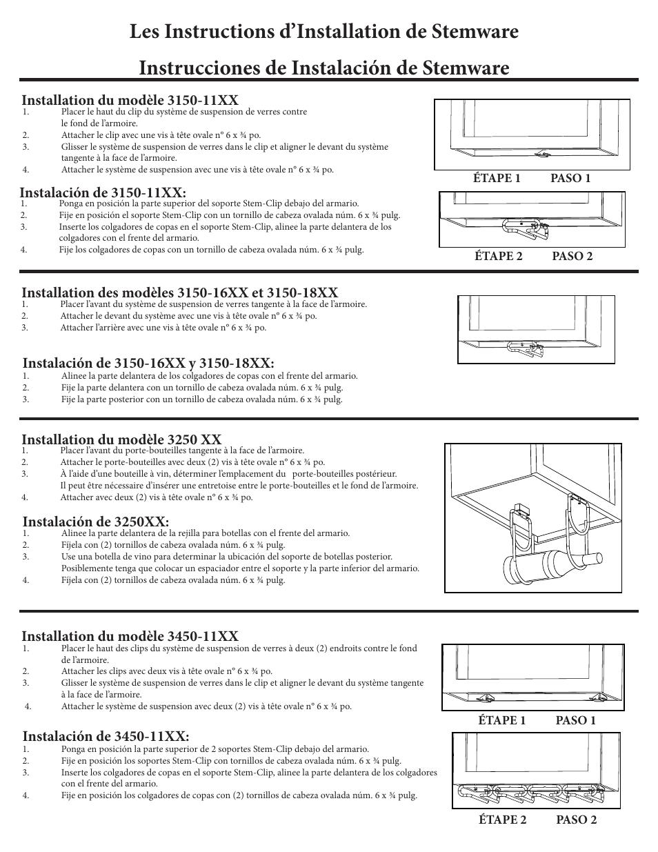 Instalación de 3250xx   Rev-A-Shelf 3450-11XX User Manual   Page