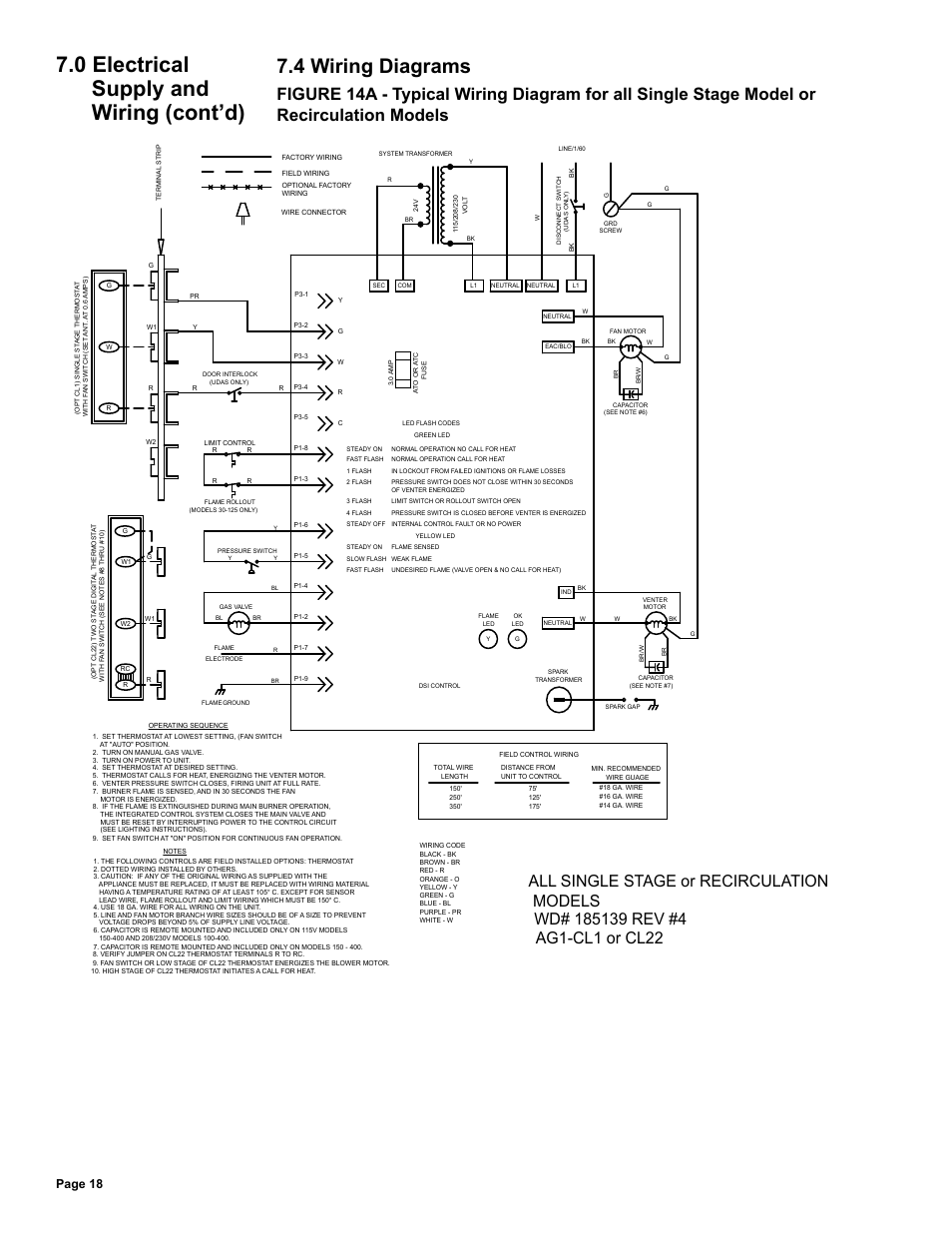4 wiring diagrams, 0 electrical supply and wiring (cont'd), Page 18 |  Reznor UDAS Unit Installation Manual User Manual | Page 18 / 40