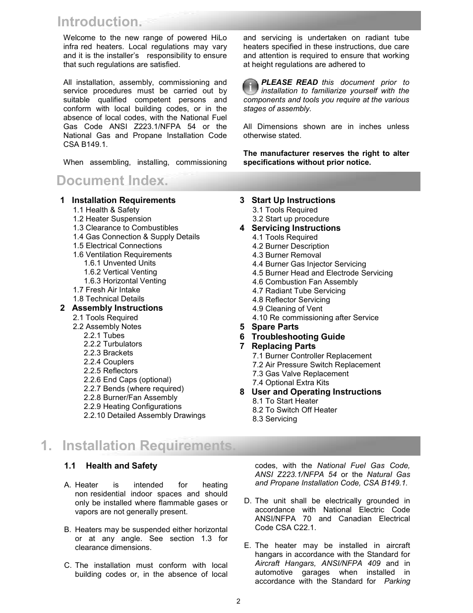 Reznor VPT Unit Installation Manual User Manual | Page 2 / 40