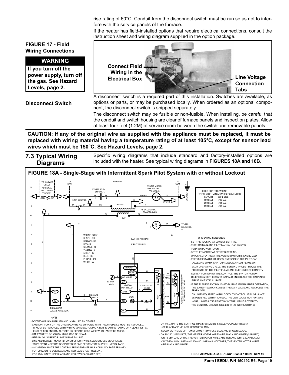 reznor eedu unit installation manual page19 typical factory wiring typical wiring diagrams  at eliteediting.co