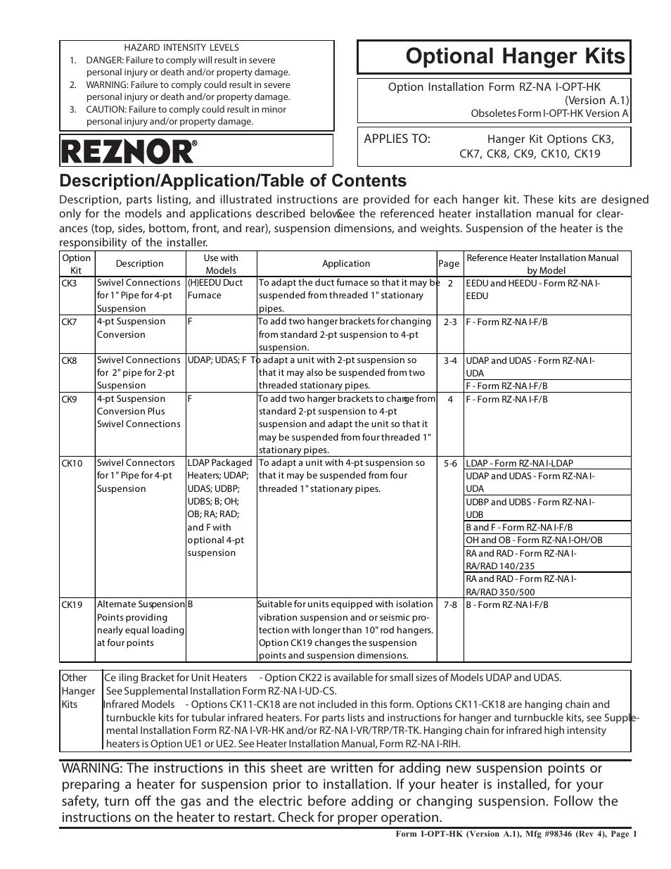 Reznor Ck10 Option - Installation