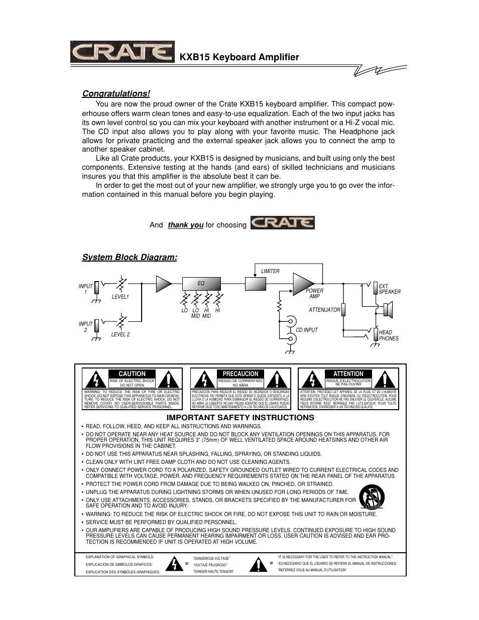 Kxb15 keyboard amplifier, System block diagram | Crate Amplifiers KXB15  User Manual | Page 2