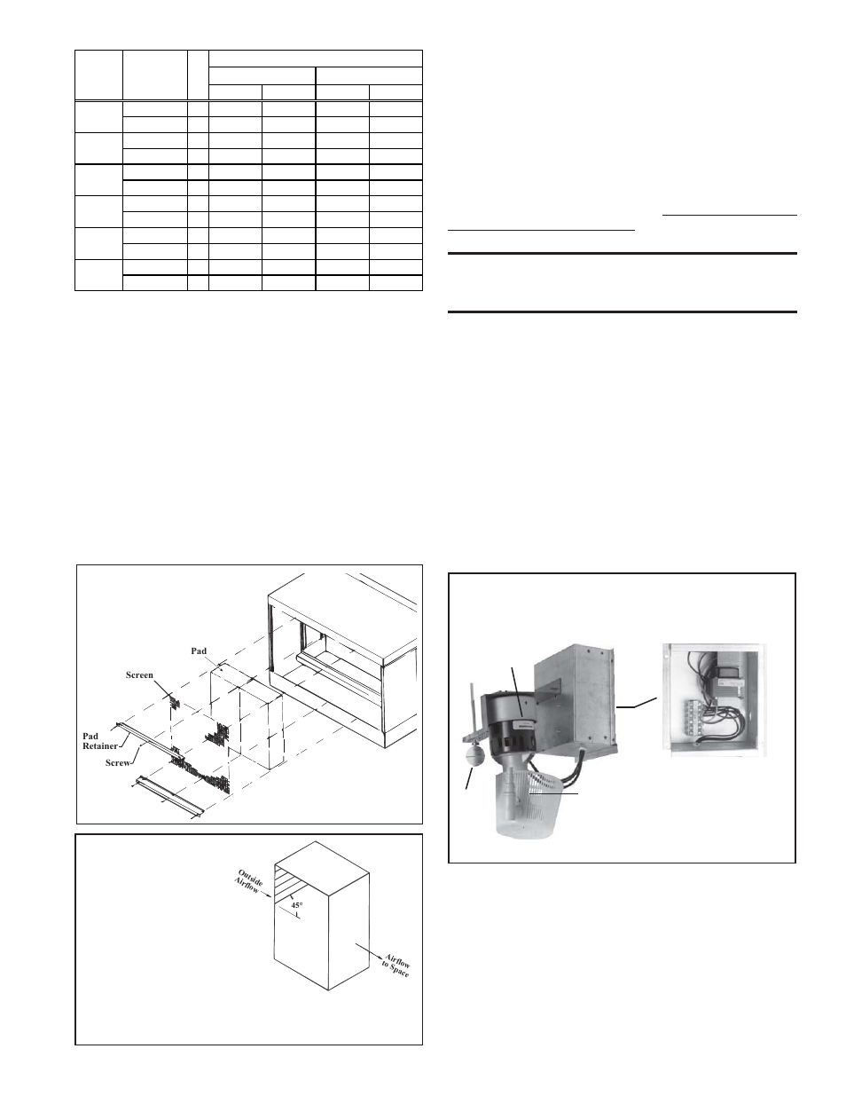 Optional Dampers And Controls See Wiring Diagram Supplied With Unit No Pump Swamp Cooler Motor Instructions For Replacing Media Pads Reznor Xe Installation Manual User