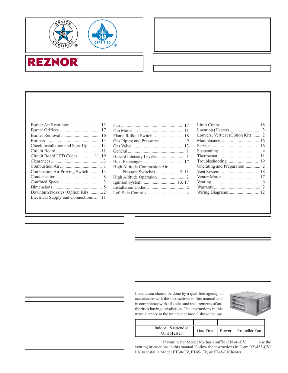 reznor ft unit installation manual page2 reznor heater wiring schematic efcaviation com reznor eexl wiring diagram at webbmarketing.co