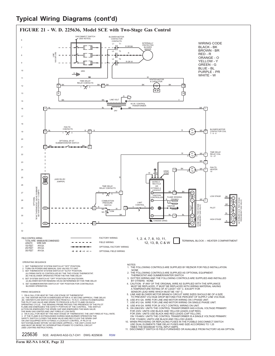 reznor sce unit installation manual page22 typical wiring diagrams (cont'd), form rz na i sce, page 22 field controls power venter wiring diagram at edmiracle.co