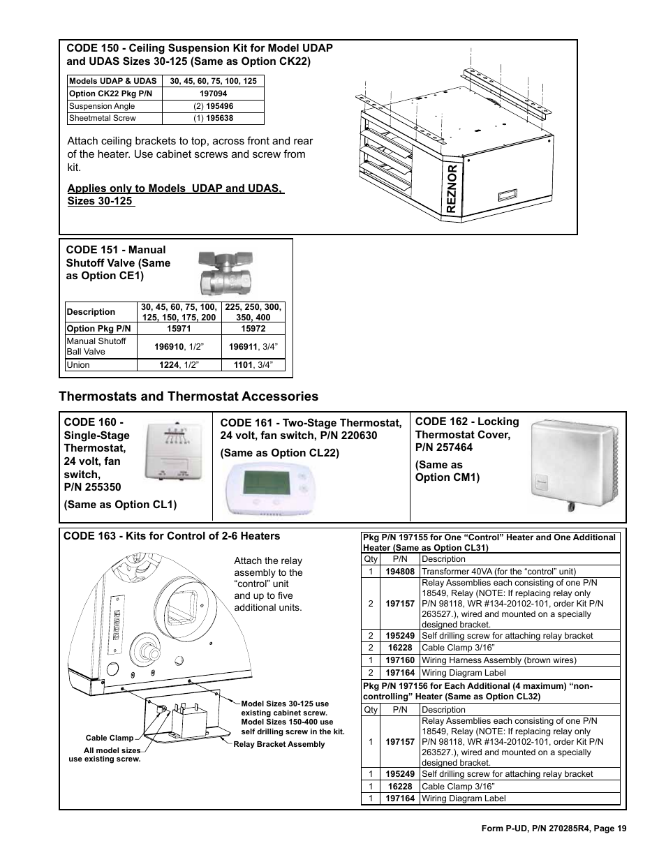 reznor udbp parts manuals page19 control of 2 6 heaters 19, option ce1 19, option ck22 19 reznor reznor udap wiring diagram at aneh.co