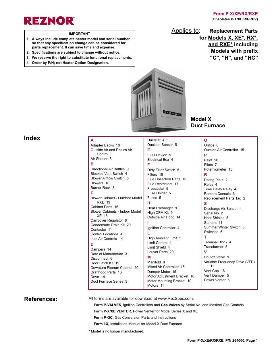 Reznor Rxe Parts Manuals User Manual