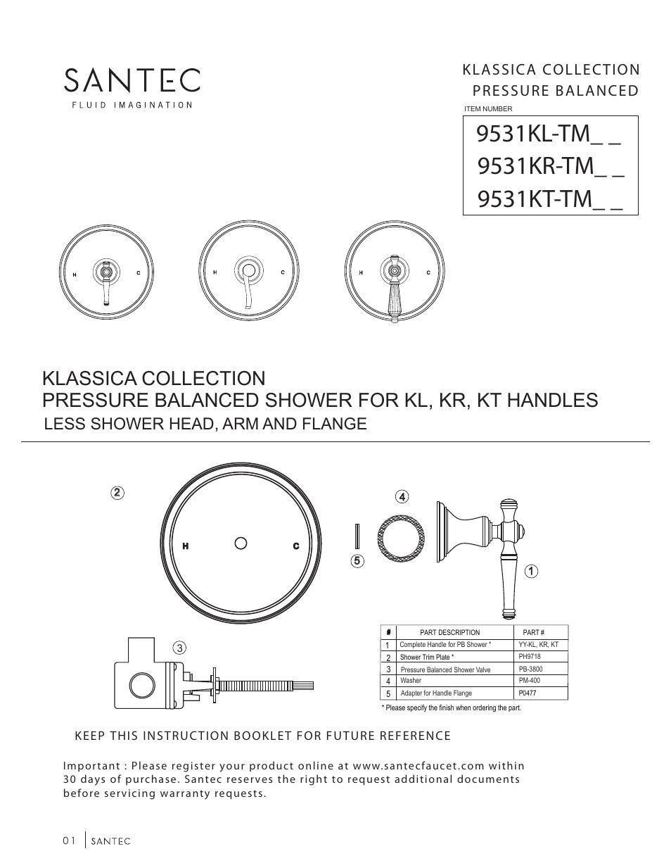 Santec 9531KT-TM User Manual | 6 pages | Also for: 9531KR-TM, 9531KL-TM