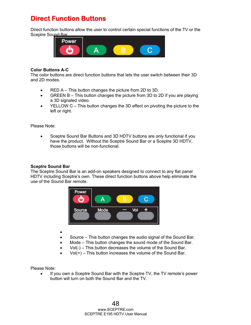 Direct function buttons | Sceptre E195BD-SMQR User Manual