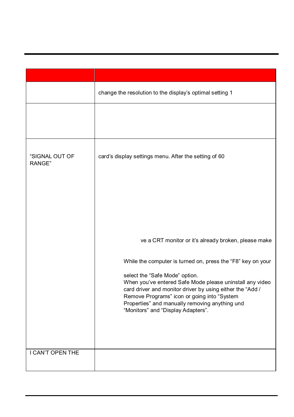 Troubleshooting, Sceptre e22 page25, Problem possible solutions
