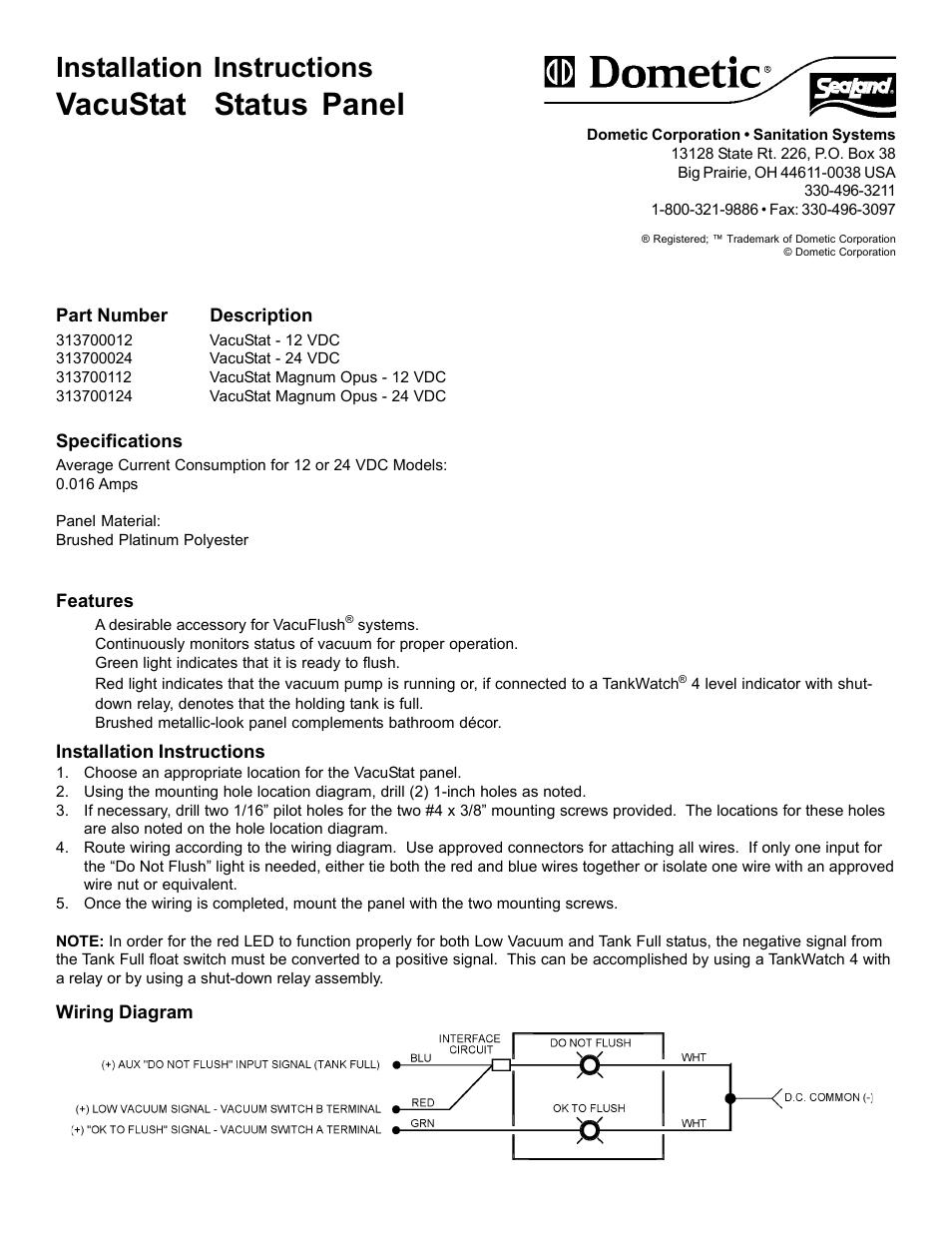 Sealand Vacustat Status Panel User Manual