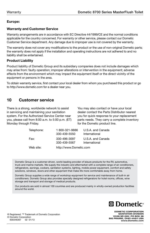 Masterflush Toilet 8700 Handle Parts Manual Guide