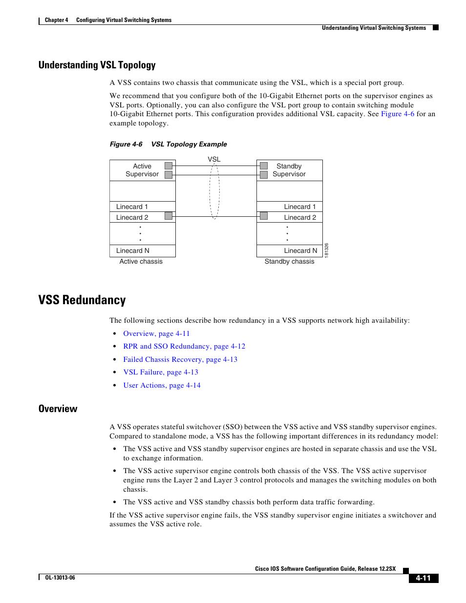 Understanding vsl topology, Vss redundancy, Overview | Cisco