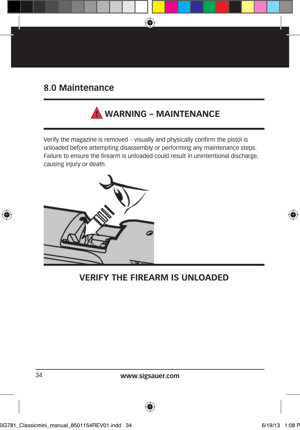 0 maintenance warning maintenance, verify the firearm is unloaded sig p227 enhanced elite 0 maintenance warning maintenance, verify the firearm is unloaded sig sauer p229 user