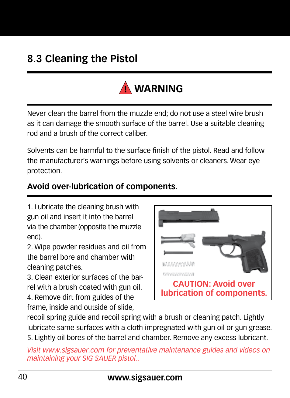 3 cleaning the pistol warning | SIG SAUER P290 User Manual | Page 40 ...