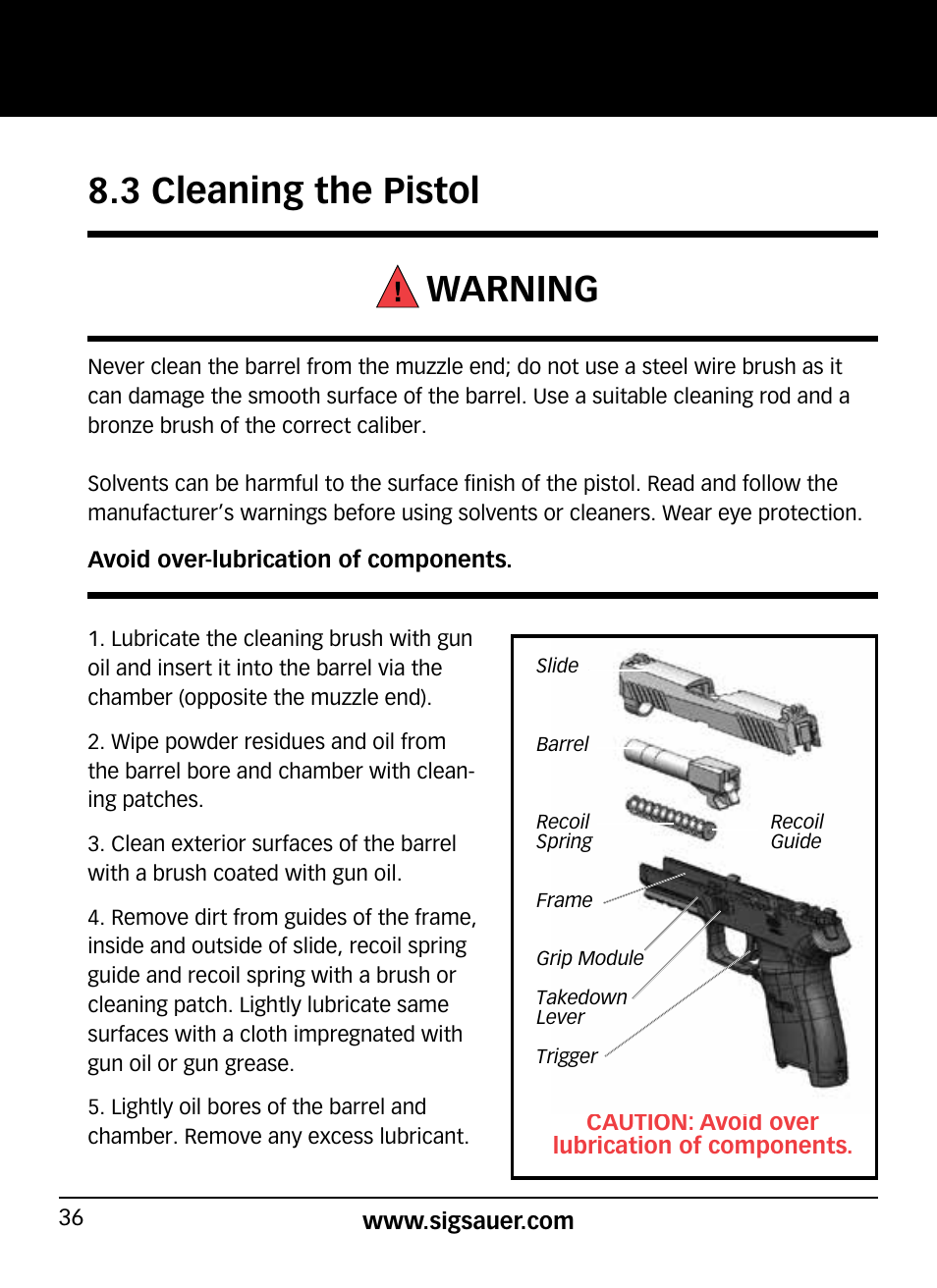 3 cleaning the pistol warning   SIG SAUER P320 User Manual