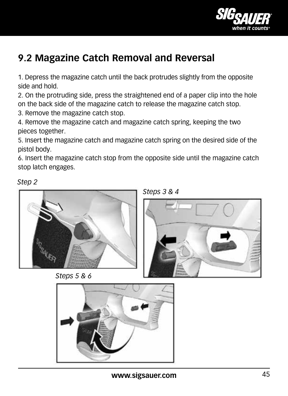 2 magazine catch removal and reversal | SIG SAUER P320 User