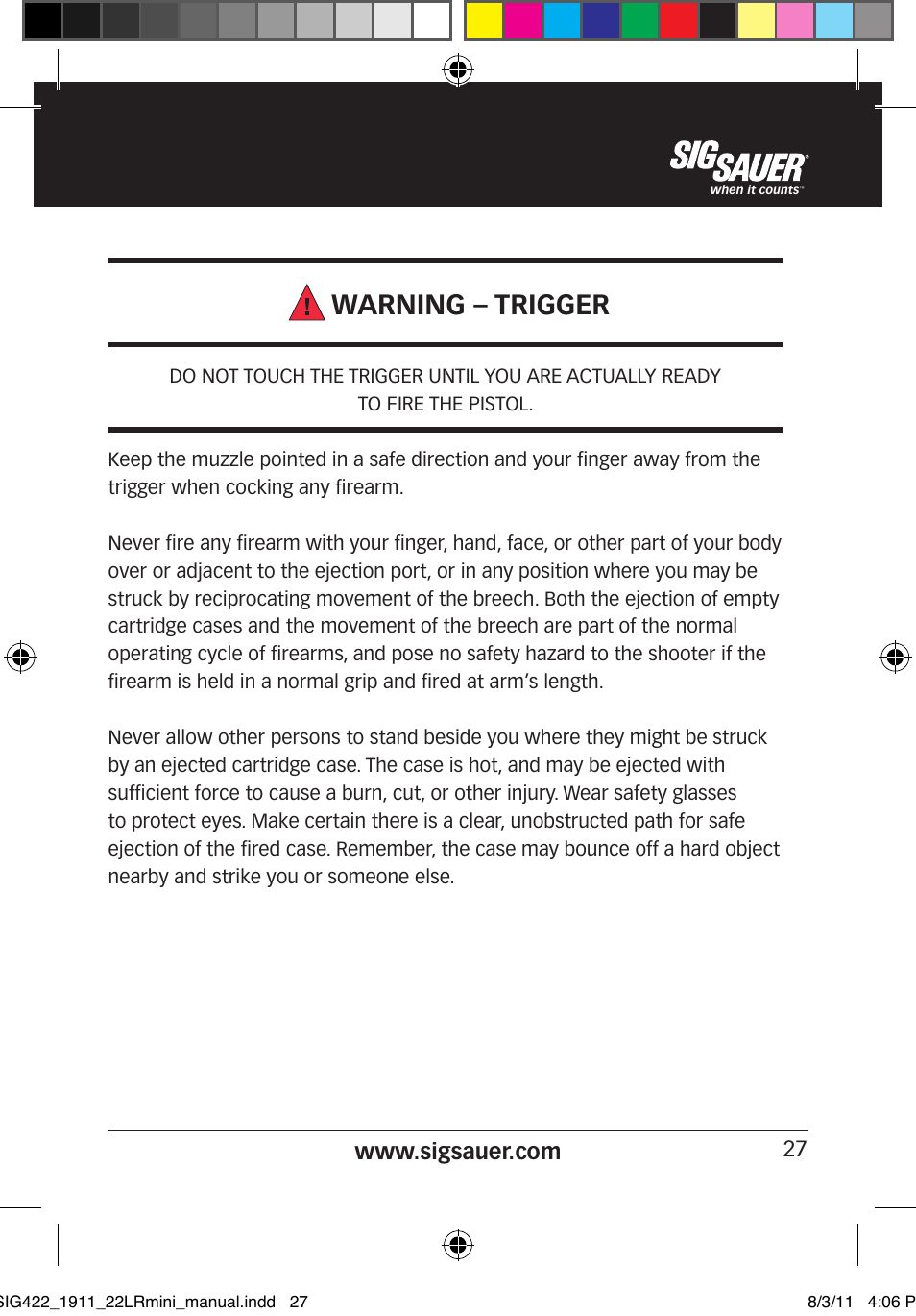 warning trigger sig sauer 1911 22lr user manual page 27 64 rh manualsdir com sig sauer 1911 airsoft review sig sauer 1911 22 owners manual