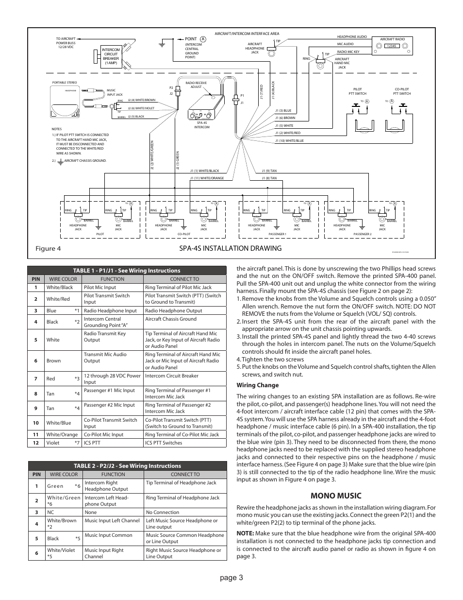 Sigtronics Wiring Diagram Libraries Icom Computer Headset Librarymono Music Spa 4s Installation Drawing Page 3