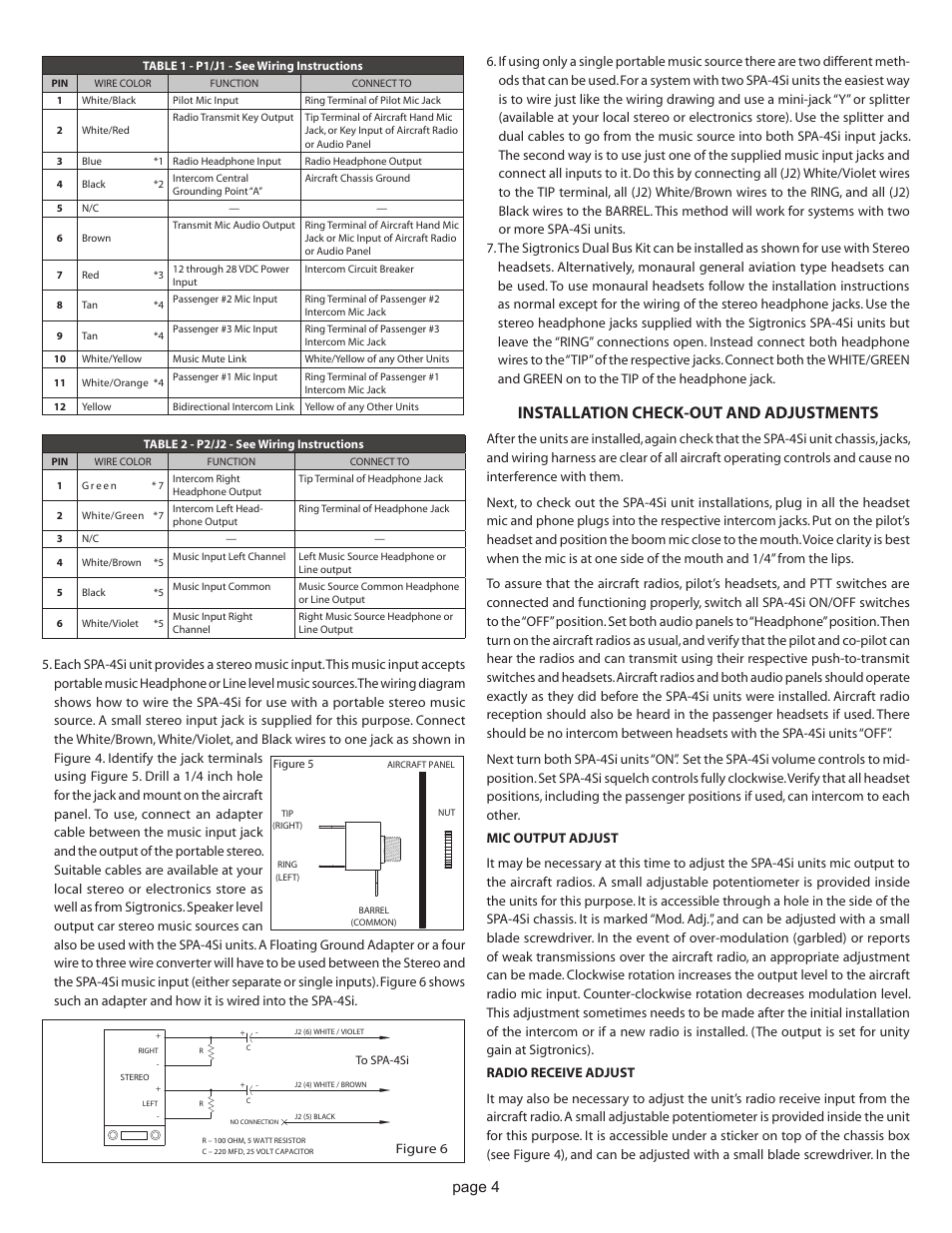installation check-out and adjustments, page 4 | sigtronics spa-4si user  manual | page 4 / 6