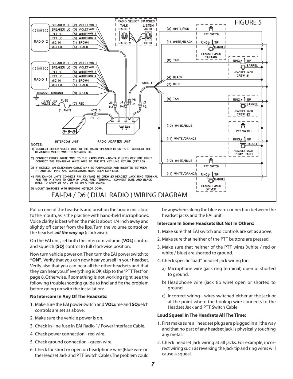 figure 5 eai d4 d6 dual radio wiring diagram sigtronics eai operating user