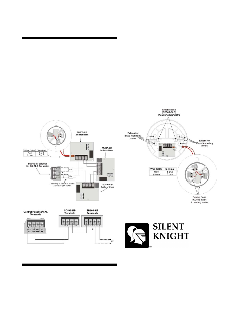 silentknight sd505 6ib 6 isolator base page2 100 [ notifier intelligent control panel slc wiring manual sd505-6ab wiring diagram at gsmx.co