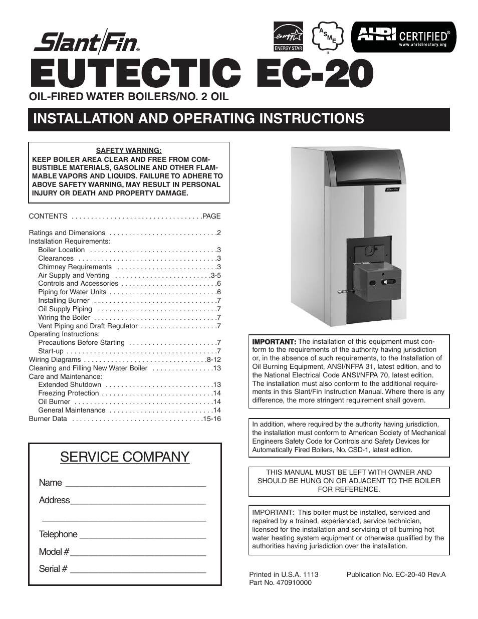 Slant Fin Ec 20 Installation User Manual 16 Pages Ansi Wiring Diagram