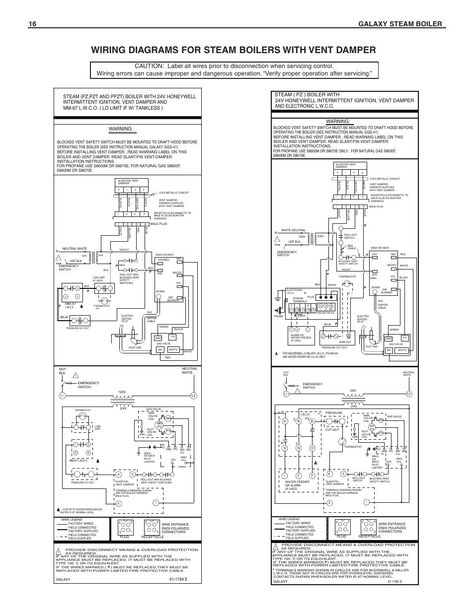 Wiring diagrams for steam boilers with vent damper, 16 galaxy steam boiler,  Warning | Slant/Fin GXHA-200 User Manual | Page 16 / 20Manuals Directory