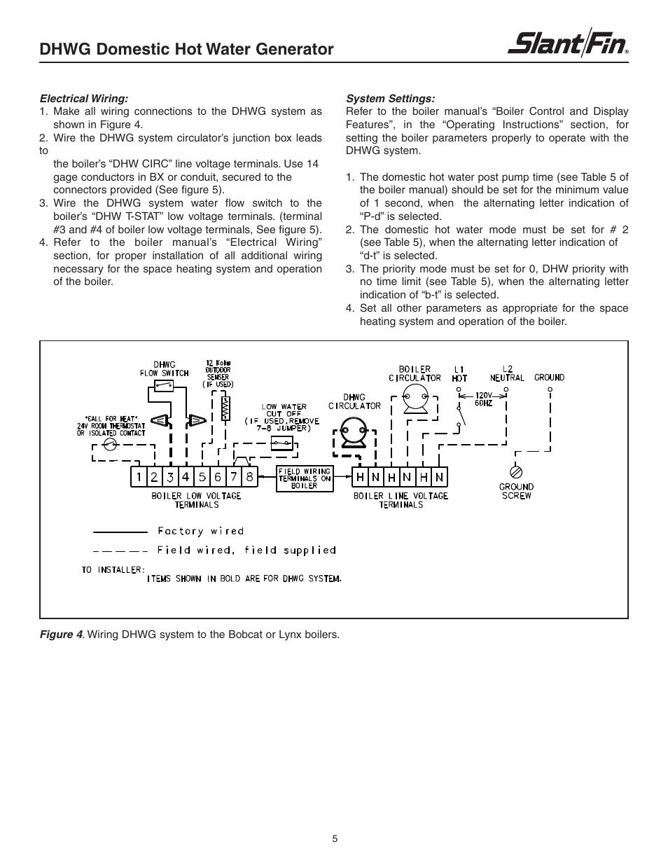 Dhwg Domestic Hot Water Generator Slant Fin User Manual Boiler Wiring Diagram Page 5