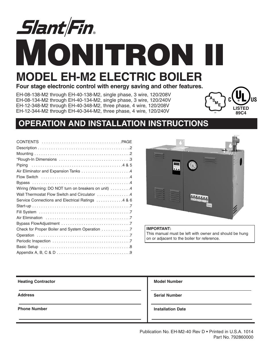 Slant Fin Eh M2 User Manual 12 Pages Boiler Wiring Diagram