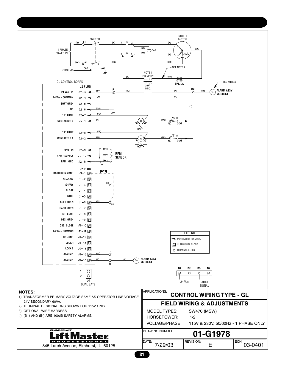 Single phase wiring diagram (sw470), G1978 | Chamberlain LIFTMASTER  PROFESSIONAL SW470 User Manual | Page 31 / 40 | Original modeManuals Directory
