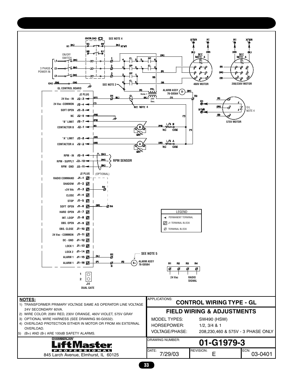 Three phase wiring diagram (sw490) | Chamberlain LIFTMASTER PROFESSIONAL  SW470 User Manual | Page