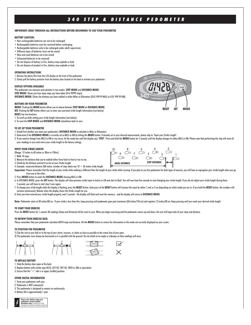 Sportline 340 Step User Manual