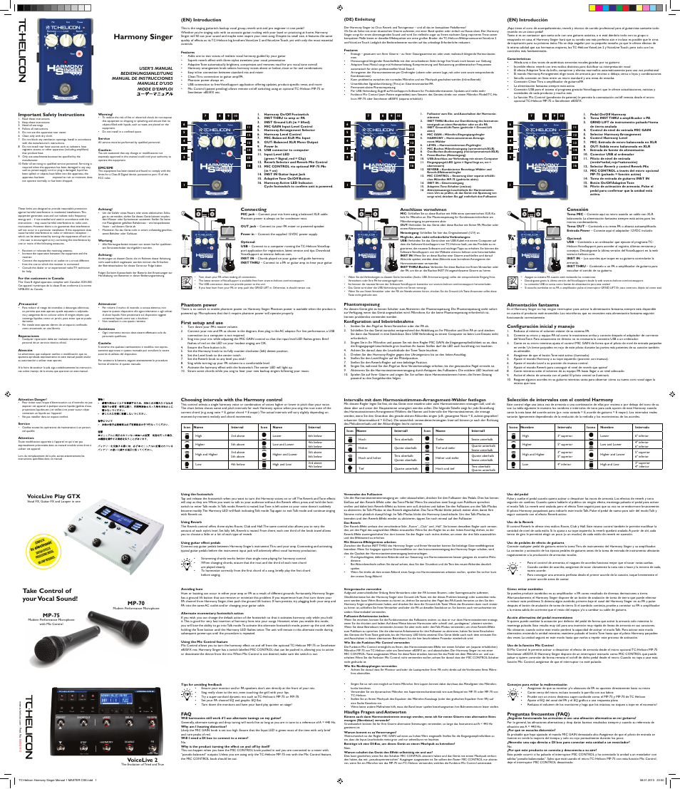 Tc Helicon Harmony Singer Manual User Manual 2 Pages