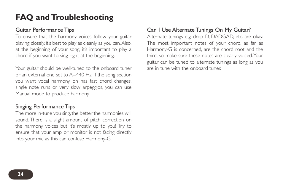 Faq And Troubleshooting Tc Helicon Voicetone Harmony G Manual User
