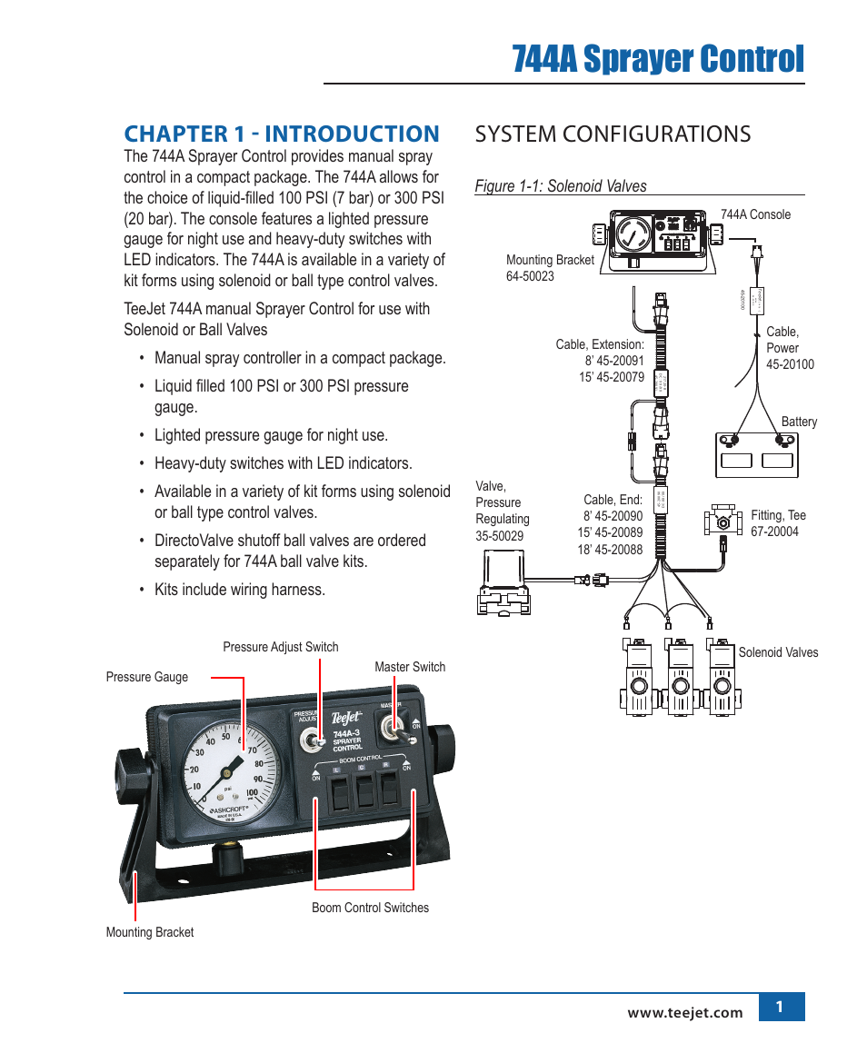 teejet 744a sprayer control page4 744a sprayer control, chapter 1 introduction, system teejet ball valve wiring diagram at nearapp.co