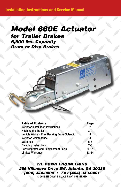 hp 6600 installation diagram model 660e actuator  for trailer brakes     installation     model 660e actuator  for trailer brakes     installation